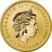 Australia 1 Dollar Swimming Australia Anniversary 2009 KM# 1358 ELIZABETH II AUSTRALIA 2009 1 DOLLAR IRB coin obverse