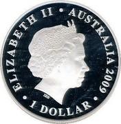 Australia 1 Dollar Swimming Australia Anniversary 2009 KM# 1359 ELIZABETH II AUSTRALIA 2009 1 DOLLAR IRB coin obverse