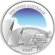 Australia 1 Dollar Sydney 2007 KM# 949 DISCOVER AUSTRALIA SYDNEY 1 OZ 999 SILVER 2007 P JR coin reverse