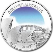 Australia 1 Dollar Sydney 2007 KM# 1185 DISCOVER AUSTRALIA SYDNEY 1 OZ 999 SILVER 2007 coin reverse