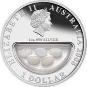 Australia 1 Dollar Treasures of Australia 2008 KM# 1749 ELIZABETH II AUSTRALIA 2008 1 DOLLAR 1 OZ 999 SILVER IRB coin obverse