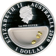 Australia 1 Dollar Treasures of Australia - Gold 2010 KM# 1435 ELIZABETH II AUSTRALIA 2010 1 DOLLAR 1 OZ 999 SILVER IRB coin obverse