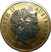 Australia 1 Dollar Wombat 2008 KM# 1071 ELIZABETH II AUSTRALIA 2008 IRB coin obverse