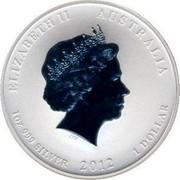Australia 1 Dollar Year of the Dragon (Red) 2012 KM# 1664.3 ELIZABETH II AUSTRALIA 1 OZ 999 SILVER 2012 1 DOLLAR IRB coin obverse