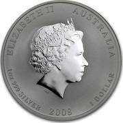 Australia 1 Dollar Year of the Mouse 2008 KM# 1755a ELIZABETH II AUSTRALIA 1 OZ 999 SILVER 2008 1 DOLLAR IRB coin obverse