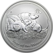 Australia 1 Dollar Year of the Mouse 2008 KM# 1755c YEAR OF THE MOUSE P coin reverse
