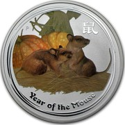 Australia 1 Dollar Year of the Mouse 2008 KM# 1755a YEAR OF THE MOUSE P coin reverse