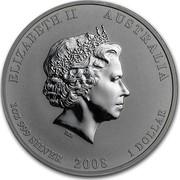 Australia 1 Dollar Year of the Mouse (Gilded) 2008 Proof KM# 1755b ELIZABETH II AUSTRALIA 1 OZ 999 SILVER 2008 1 DOLLAR IRB coin obverse