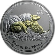 Australia 1 Dollar Year of the Mouse (Gilded) 2008 Proof KM# 1755b YEAR OF THE MOUSE P coin reverse