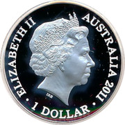 Australia 1 Dollar Year of the Rabbit 2011 KM# 1661a ELIZABETH II AUSTRALIA 2011 1 DOLLAR IRB coin obverse