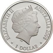 Australia 1 Dollar Year of the Rat 2008 KM# 1056a ELIZABETH II AUSTRALIA 2008 1 DOLLAR IRB coin obverse