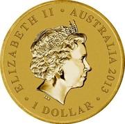 Australia 1 Dollar Year of the Snake 2013 KM# 2015b ELIZABETH II AUSTRALIA 2013 1 DOLLAR IRB coin obverse