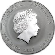 Australia 1 Dollar Year of the Snake (Green) 2013 KM# 1831c ELIZABETH II AUSTRALIA 1 OZ 999 SILVER 2013 1 DOLLAR IRB coin obverse