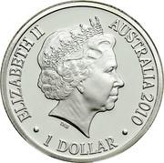 Australia 1 Dollar Year of the Tiger 2010 KM# 1659a ELIZABETH II AUSTRALIA 2010 1 DOLLAR IRB coin obverse