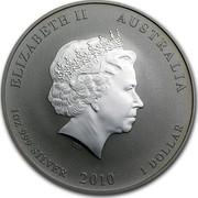 Australia 1 Dollar Year of the Tiger (Gilded) 2010 KM# 1317a ELIZABETH II AUSTRALIA 1 OZ 999 SILVER 2010 1 DOLLAR IRB coin obverse
