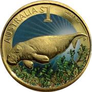 Australia $1 Shark Bay 2010 KM# 1387 AUSTRALIA $1 SHARK BAY P RV coin reverse