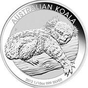 Australia 10 Cents Australian Koala 2012 KM# 1789 AUSTRALIAN KOALA 2012 1/10 OZ 999 SILVER P AH coin reverse
