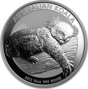Australia 10 Dollars Australian Koala 2012 P KM# 1690 AUSTRALIAN KOALA 2012 10 OZ 999 SILVER coin reverse