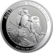 Australia 10 Dollars Australian Kookaburra 2013 KM# 1986 AUSTRALIAN KOOKABURRA 2013 10 OZ 999 SILVER P NM coin reverse