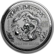 Australia 10 Dollars Lunar Dragon 2000 KM# 524 2000 10 OZ 999 SILVER coin reverse