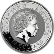 Australia 10 Dollars Lunar Rabbit 1999 KM# 504 ELIZABETH II AUSTRALIA 10 DOLLARS IRB coin obverse
