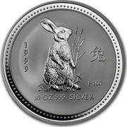 Australia 10 Dollars Lunar Rabbit 1999 KM# 504 1999 10 OZ 999 SILVER P100 coin reverse