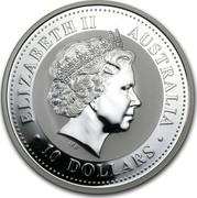Australia 10 Dollars Lunar Rooster 2005 KM# 696 ELIZABETH II AUSTRALIA 10 DOLLARS IRB coin obverse