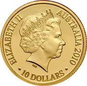 Australia 10 Dollars Lunar Tiger 2010 Proof KM# 1660 ELIZABETH II AUSTRALIA 2010 10 DOLLARS IRB coin obverse