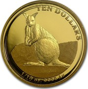 Australia 10 Dollars Mareeba Rock-Wallaby 2012 P Proof KM# 1683 TEN DOLLARS 1/10 OZ. 9999 AU coin reverse