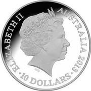 Australia 10 Dollars Snake 2013 KM# 1971 ELIZABETH II AUSTRALIA 2013 10 DOLLARS IRB coin obverse