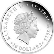 Australia 10 Dollars The Land Down Under 2013 Proof KM# 2041 ELIZABETH II AUSTRALIA 2013 10 DOLLARS IRB coin obverse