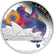 Australia 10 Dollars The Land Down Under 2013 Proof KM# 2041 THE LAND DOWN UNDER 10 OZ 999 SILVER P NM coin reverse
