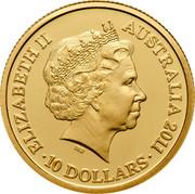 Australia 10 Dollars Year of the Rabbit 2011 Proof KM# 1661b ELIZABETH II AUSTRALIA 2011 10 DOLLARS IRB coin obverse