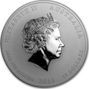 Australia 10 Dollars Year of the Snake 2013 KM# 2098 ELIZABETH II AUSTRALIA 10 OZ 999 SILVER 2013 10 DOLLARS IRB coin obverse