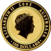 Australia 100 Dollars 60th Anniversary of the End of WWII 2005 KM# 797 ELIZABETH II 2005 AUSTRALIA 100 DOLLARS IRB coin obverse