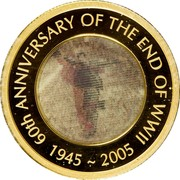 Australia 100 Dollars 60th Anniversary of the End of WWII 2005 KM# 797 60TH ANNIVERSARY OH THE END OF WWII 1945 ~ 2005 coin reverse