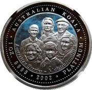 Australia 100 Dollars Australian Koala - Multiculturalism (Colorized) 2002 KM# 636 AUSTRALIAN KOALA 1 OZ. 9995 PLATINUM 2002 QUSTRALIAN STORIES - MULTICULTURALISM P JM coin reverse