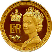 Australia 100 Dollars Coronation 2003 KM# 800 ELIZABETH II CORONATION 1953 50TH ANNIVERSARY 2003 100 DOLLARS EIIR coin reverse
