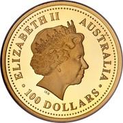 Australia 100 Dollars Dog 2006 KM# 1905 ELIZABETH II AUSTRALIA 100 DOLLARS IRB coin obverse