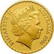 Australia 100 Dollars Golden Wattle 2001 KM# 643 ELIZABETH II AUSTRALIA 2001 IRB coin obverse