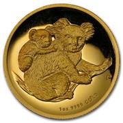 Australia 100 Dollars Koalas on a tree branch 2008 KM# 1875 1 OZ 9999 GOLD P SB coin reverse