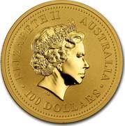 Australia 100 Dollars Lunar Dragon 2000 KM# 528 ELIZABETH II AUSTRALIA 100 DOLLARS IRB coin obverse