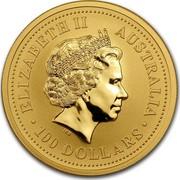 Australia 100 Dollars Lunar Goat 2003 KM# 713 ELIZABETH II AUSTRALIA 100 DOLLARS IRB coin obverse