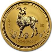 Australia 100 Dollars Lunar Goat 2003 KM# 713 2003 1 OZ 9999 GOLD coin reverse
