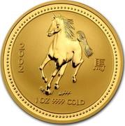 Australia 100 Dollars (Lunar Horse) KM# 587 2002 1 OZ 9999 GOLD coin reverse