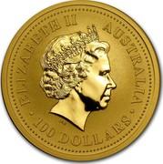 Australia 100 Dollars Lunar Monkey 2004 KM# 672 ELIZABETH II AUSTRALIA 100 DOLLARS IRB coin obverse