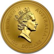Australia 100 Dollars Lunar Ox 1997 KM# 337 ELIZABETH II AUSTRALIA 100 DOLLARS RDM coin obverse