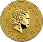 Australia 100 Dollars Lunar Pig 2007 KM# 1906 ELIZABETH II AUSTRALIA 100 DOLLARS IRB coin obverse