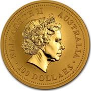 Australia 100 Dollars Lunar Rabbit 1999 KM# 428 ELIZABETH II AUSTRALIA 100 DOLLARS IRB coin obverse