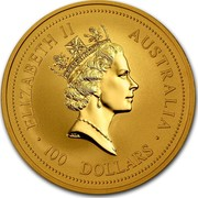 Australia 100 Dollars Lunar Rat 1996 KM# 300 ELIZABETH II AUSTRALIA 100 DOLLARS RDM coin obverse